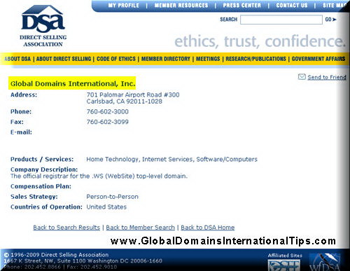 Global Domains International Inc GDI member of Direct Selling Association DSA